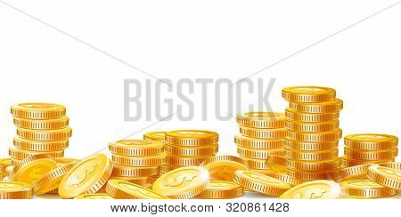 Golden Coins Stacks. Lots Money, Finance Business Profits And Wealth Gold Coin Pile. Dollar Stack, C