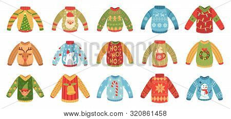 Cartoon Christmas Party Jumpers. Xmas Holidays Ugly Sweaters, Knitted Winter Jumper And Funny Santa