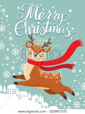 Greeting Card With Xmas Deer. Merry Christmas Postcard, Cute Fawn And Winter Holidays. New 2020 Year