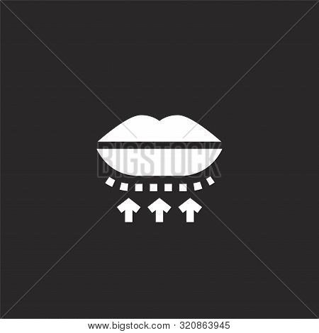 Lip Icon. Lip Icon Vector Flat Illustration For Graphic And Web Design Isolated On Black Background