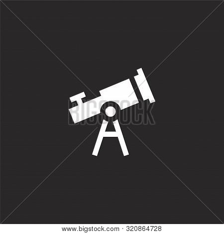 Telescope Icon. Telescope Icon Vector Flat Illustration For Graphic And Web Design Isolated On Black