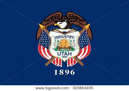 Flag Of Utah Is A State In The Western United States. Vector Illustration