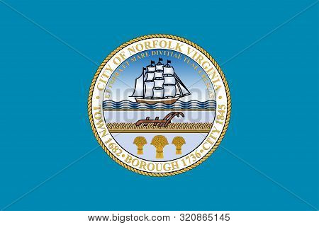 Flag Of Norfolk Is An Independent City In The Commonwealth Of Virginia In The United States. Vector