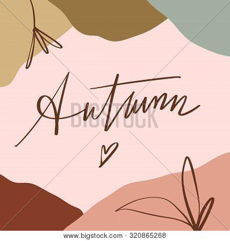 Terracotta Art Autumn Plant Leaves Print Abstract Modern Digital Painting Fashion Scandinavian Style