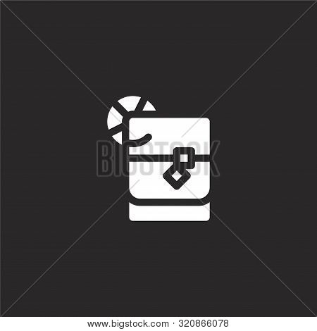 Whiskey On The Rocks Icon. Whiskey On The Rocks Icon Vector Flat Illustration For Graphic And Web De