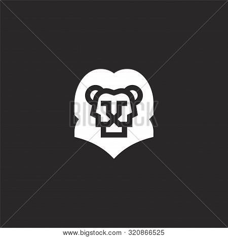 Leo Icon. Leo Icon Vector Flat Illustration For Graphic And Web Design Isolated On Black Background