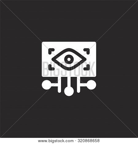 Eye Scan Icon. Eye Scan Icon Vector Flat Illustration For Graphic And Web Design Isolated On Black B