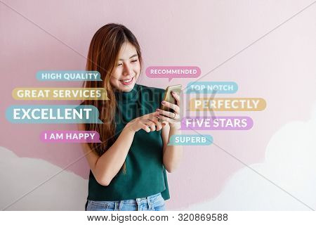 Customer Experience Concept. Happy Young Woman Using Smart Phone To Reading Positive Review Or Feedb