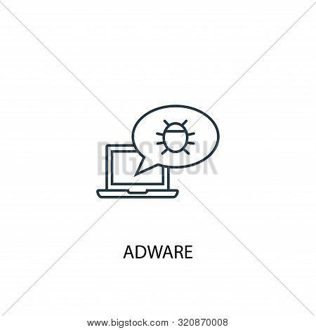 Adware Concept Line Icon. Simple Element Illustration. Adware Concept Outline Symbol Design. Can Be