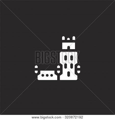 Belem Tower Icon. Belem Tower Icon Vector Flat Illustration For Graphic And Web Design Isolated On B