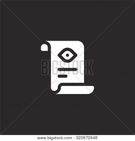 Scroll Icon. Scroll Icon Vector Flat Illustration For Graphic And Web Design Isolated On Black Backg