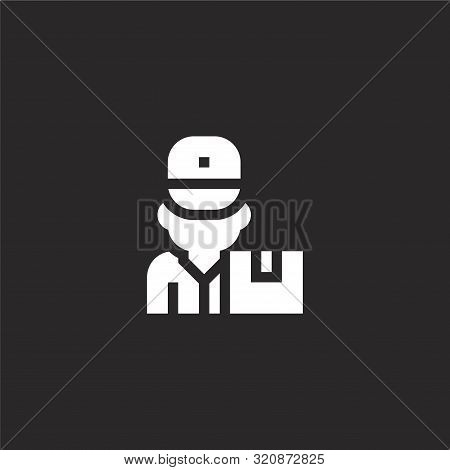 Delivery Man Icon. Delivery Man Icon Vector Flat Illustration For Graphic And Web Design Isolated On
