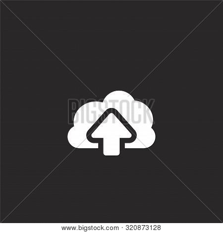 Upload Icon. Upload Icon Vector Flat Illustration For Graphic And Web Design Isolated On Black Backg