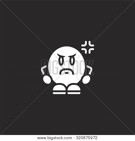Angry Icon. Angry Icon Vector Flat Illustration For Graphic And Web Design Isolated On Black Backgro