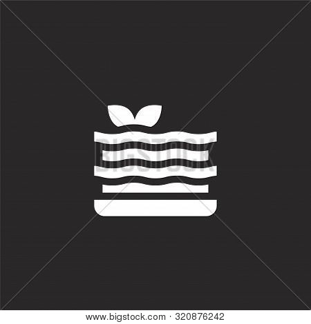 Lasagna Icon. Lasagna Icon Vector Flat Illustration For Graphic And Web Design Isolated On Black Bac