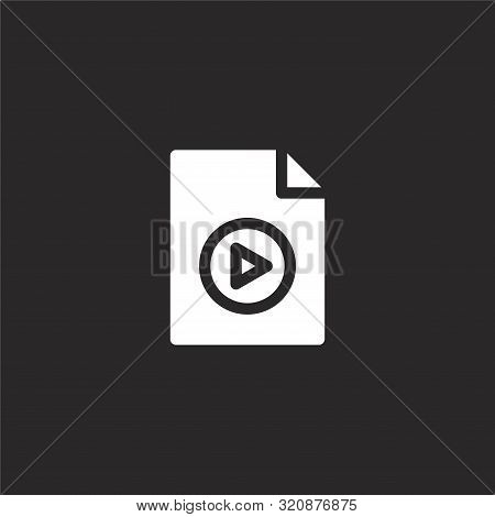 Video File Icon. Video File Icon Vector Flat Illustration For Graphic And Web Design Isolated On Bla