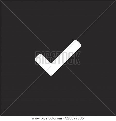 Check Icon. Check Icon Vector Flat Illustration For Graphic And Web Design Isolated On Black Backgro