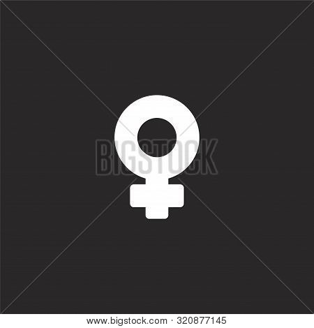 Venus Icon. Venus Icon Vector Flat Illustration For Graphic And Web Design Isolated On Black Backgro