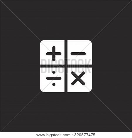 Math Icon. Math Icon Vector Flat Illustration For Graphic And Web Design Isolated On Black Backgroun
