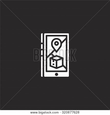 Tracking Icon. Tracking Icon Vector Flat Illustration For Graphic And Web Design Isolated On Black B