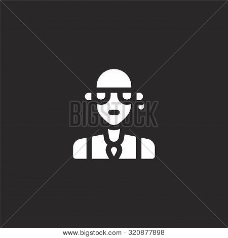 Rocker Icon. Rocker Icon Vector Flat Illustration For Graphic And Web Design Isolated On Black Backg