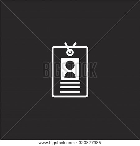 Id Card Icon. Id Card Icon Vector Flat Illustration For Graphic And Web Design Isolated On Black Bac