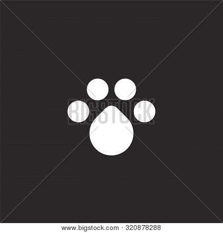 Pawprint Icon. Pawprint Icon Vector Flat Illustration For Graphic And Web Design Isolated On Black B
