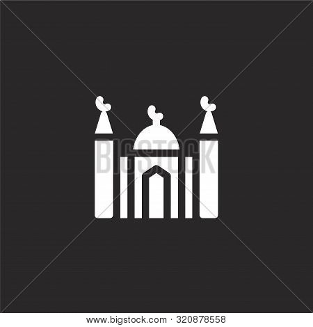 Mosque Icon. Mosque Icon Vector Flat Illustration For Graphic And Web Design Isolated On Black Backg