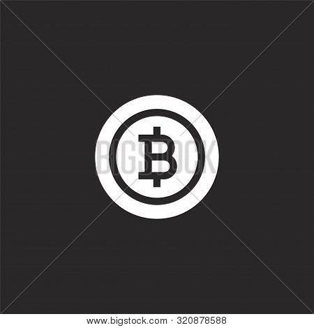 Bitcoin Icon. Bitcoin Icon Vector Flat Illustration For Graphic And Web Design Isolated On Black Bac
