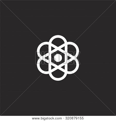 Atom Icon. Atom Icon Vector Flat Illustration For Graphic And Web Design Isolated On Black Backgroun