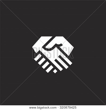 Handshake Icon. Handshake Icon Vector Flat Illustration For Graphic And Web Design Isolated On Black