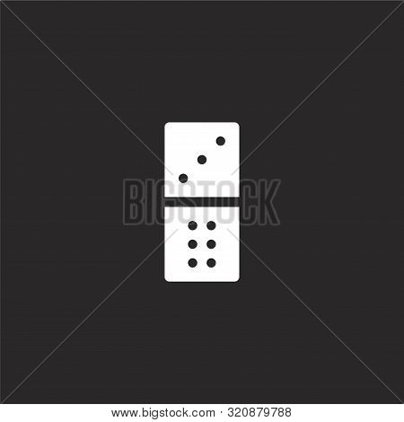 Dominoes Icon. Dominoes Icon Vector Flat Illustration For Graphic And Web Design Isolated On Black B