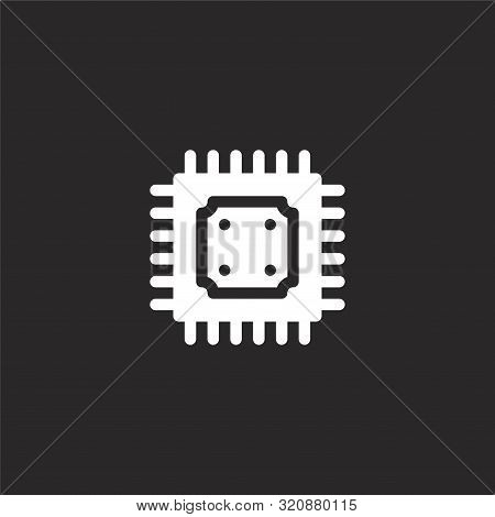 Cpu Icon. Cpu Icon Vector Flat Illustration For Graphic And Web Design Isolated On Black Background