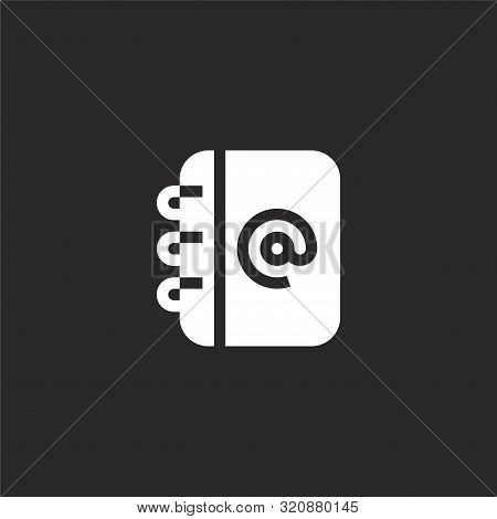 Contacts Icon. Contacts Icon Vector Flat Illustration For Graphic And Web Design Isolated On Black B