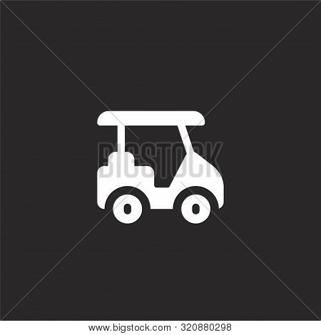 Golf Cart Icon. Golf Cart Icon Vector Flat Illustration For Graphic And Web Design Isolated On Black