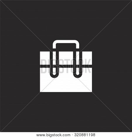 Briefcase Icon. Briefcase Icon Vector Flat Illustration For Graphic And Web Design Isolated On Black