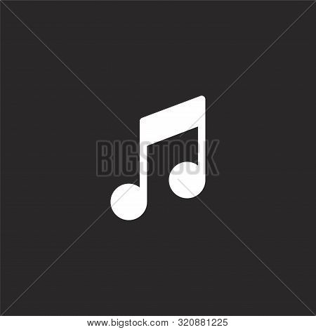 Music Note Icon. Music Note Icon Vector Flat Illustration For Graphic And Web Design Isolated On Bla
