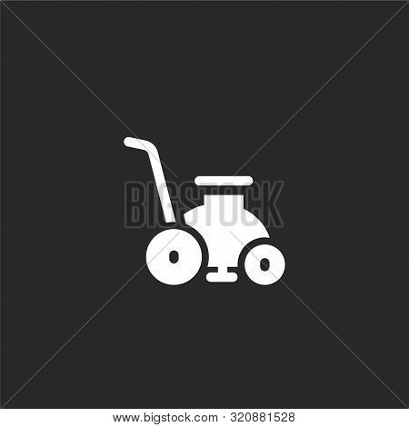 Lawn Mower Icon. Lawn Mower Icon Vector Flat Illustration For Graphic And Web Design Isolated On Bla