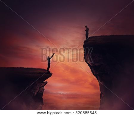 Two Persons Standing On Different High Peaks Showing The Divergence Of Success Achievement. Inequali