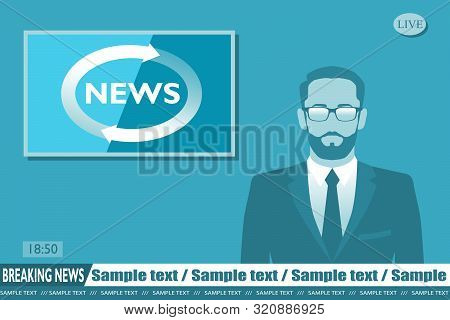 Anchorman On Tv Broadcast News. Breaking News Vector Illustration. Media On Television Concept.