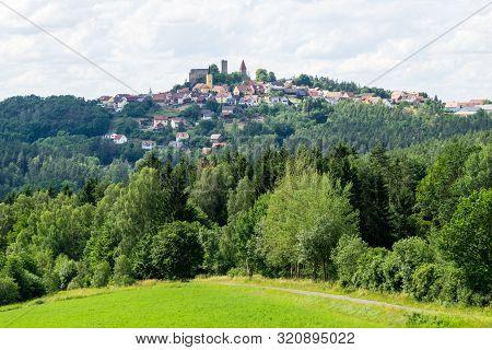 Panorama Cityview Of Leuchtenberg In Bavaria Germany