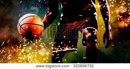 Basketball player against splashing of powder