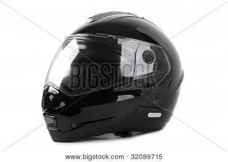 Black Motorcycle Helmet Isolated