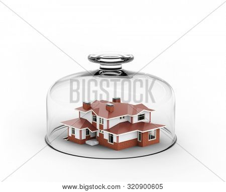 Toy house under glass plate cover, symbolizes home safety or house insurance. 3D artwork