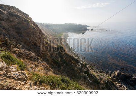 Scenic coast view of Pelican Cove Park in Rancho Palos Verdes Estates near Los Angeles California.