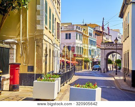 Typical Buildings Of Gibraltar Downtown. British Overseas Territory. Uk.