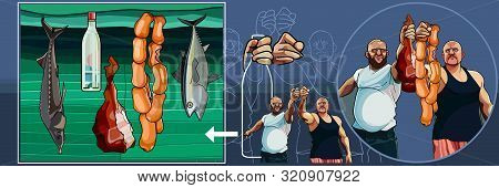 Set Of Funny Cartoon Brutal Men With Fish And Meat