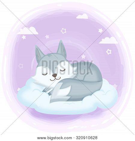 Cute Fox Asleep On Cloud Hand Drawn Cartoon Illustration Background