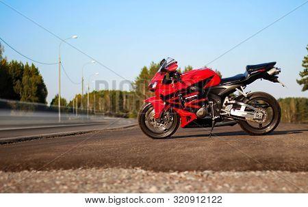 Krasnoyarsk, Russia - August 29, 2019: Red And Black Sportbike Honda Cbr 600 Rr 2005 Pc37.