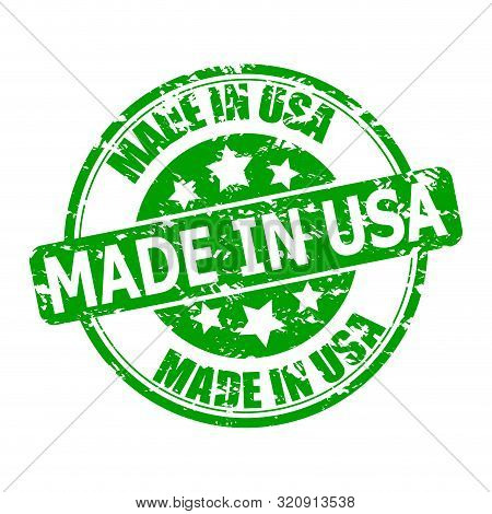 Marks Texture Made In Usa. Seal For Post To Parcel Or Clothes. Green Print Made In America With Star